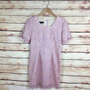 My Michelle Short Sleeve Lace Sheath Dress Pink M